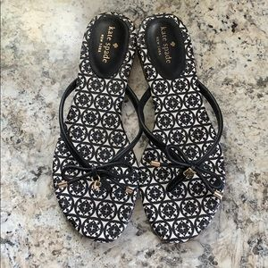 Kate Spade black sandals with gold plated details